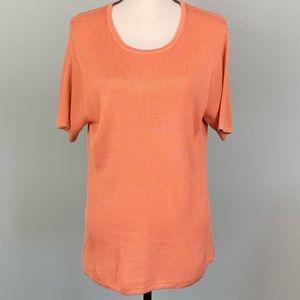 EUC-ORVIS 100% silk ribbed short sleeve sweater.